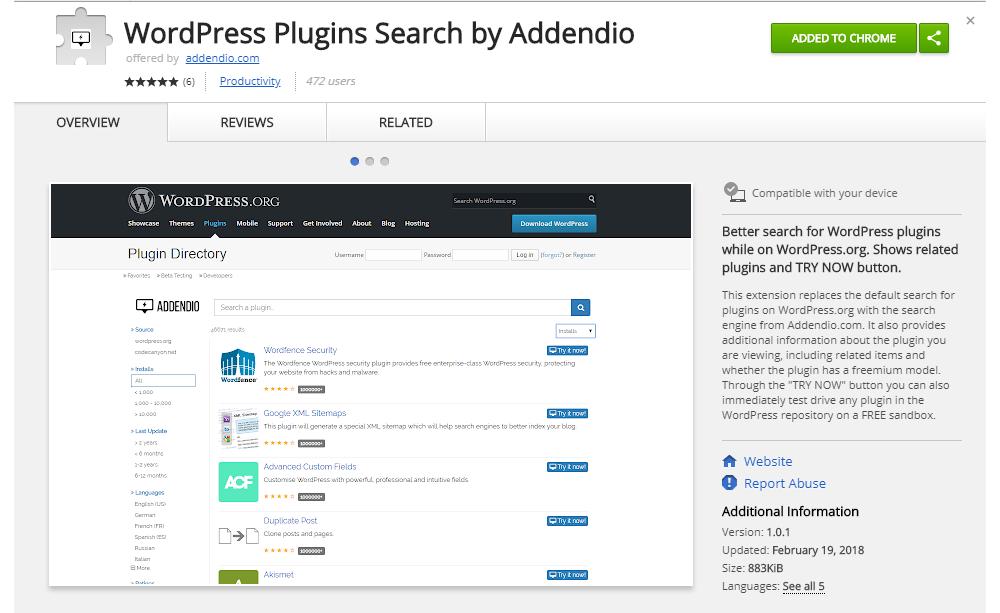 WordPress plugin search by Addendio