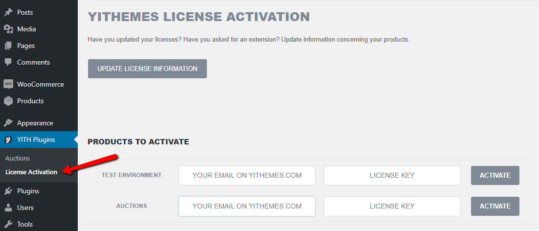 license key for your WordPress auction site