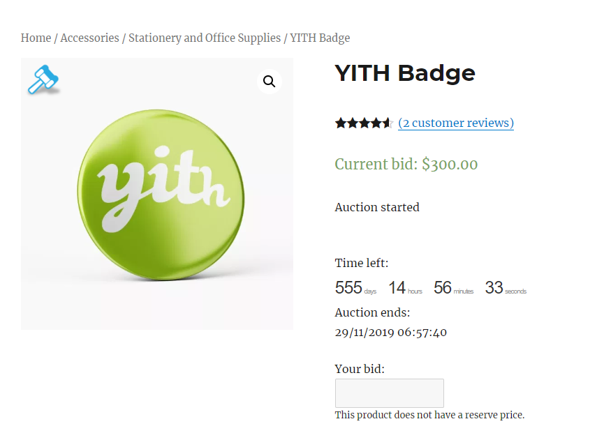 example of WordPress auctions products