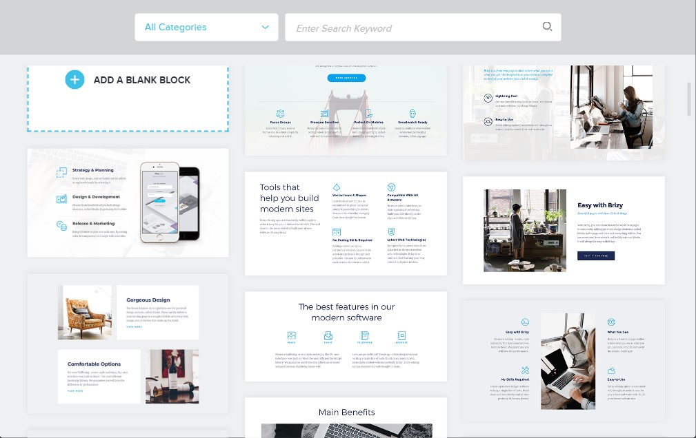 templates in our brizy page builder review