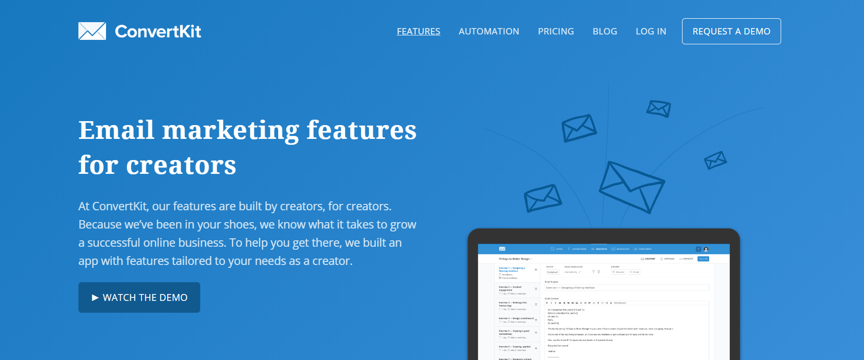 The ConvertKit website home page.