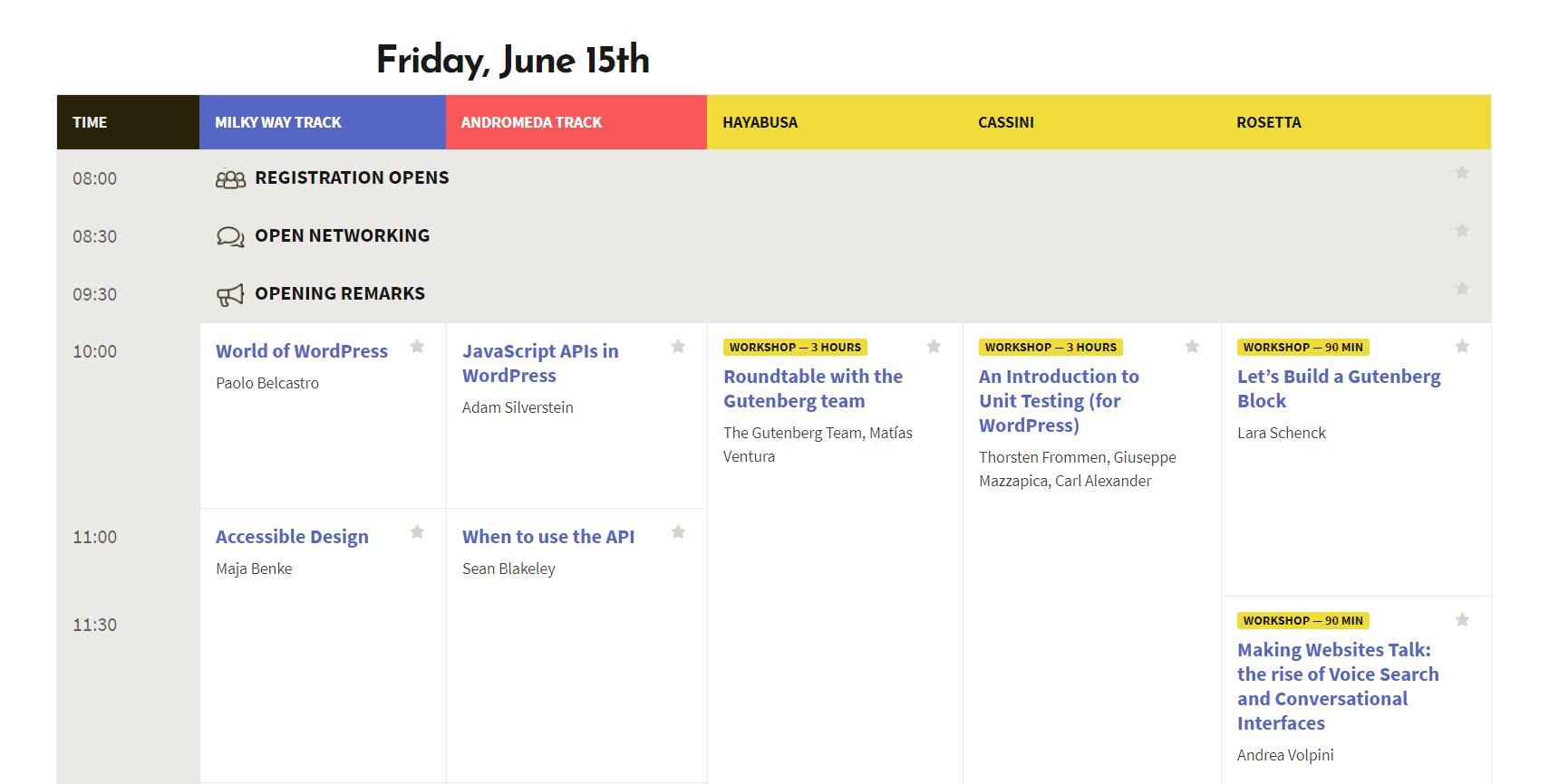 A WordCamp schedule.