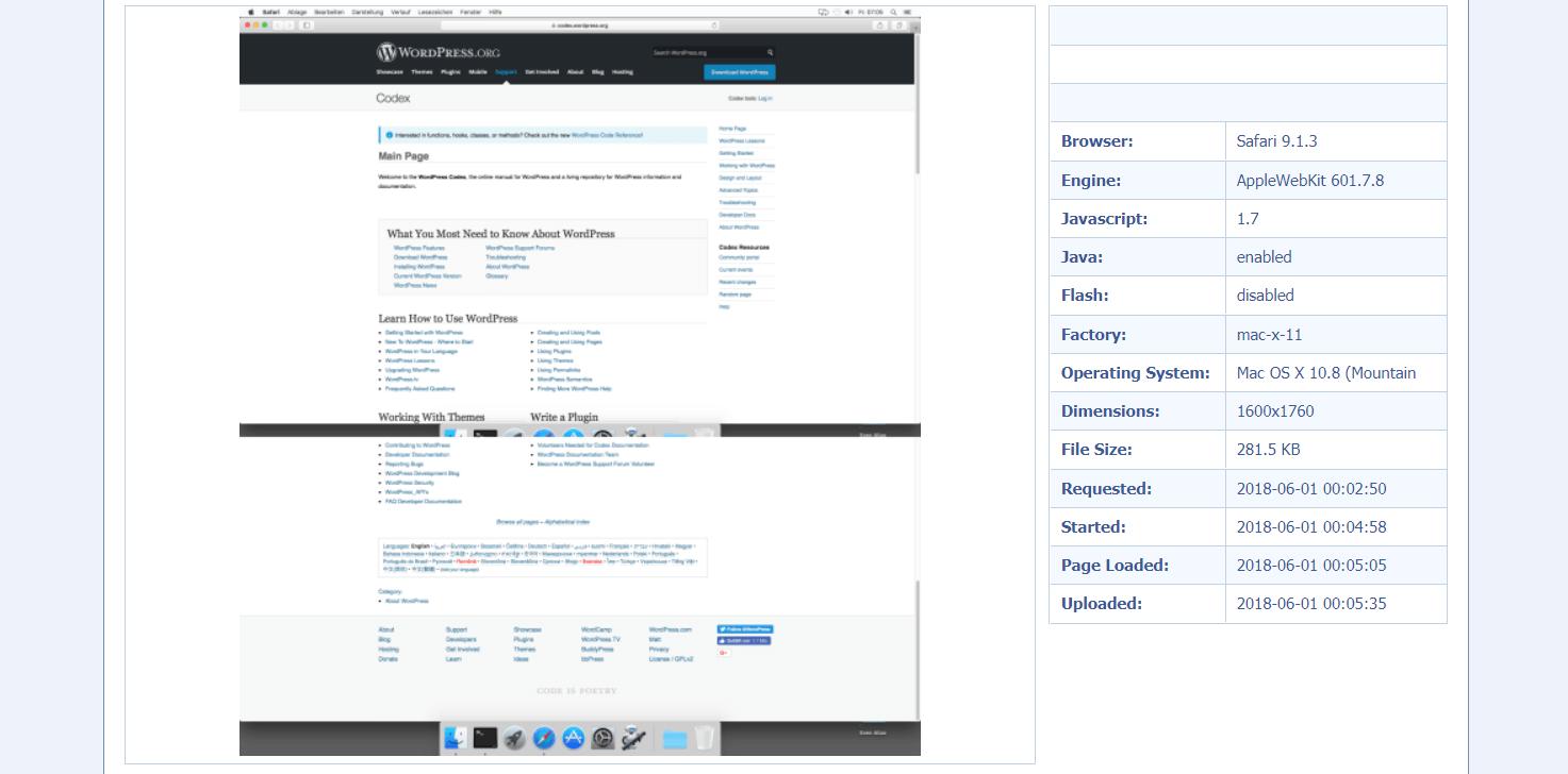 The WordPress Codex in Browsershots.