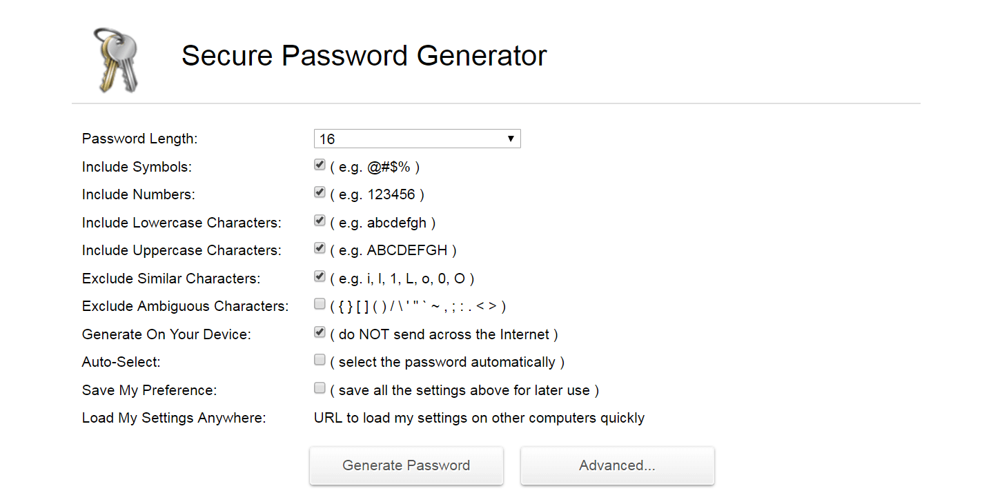 A secure password generator.