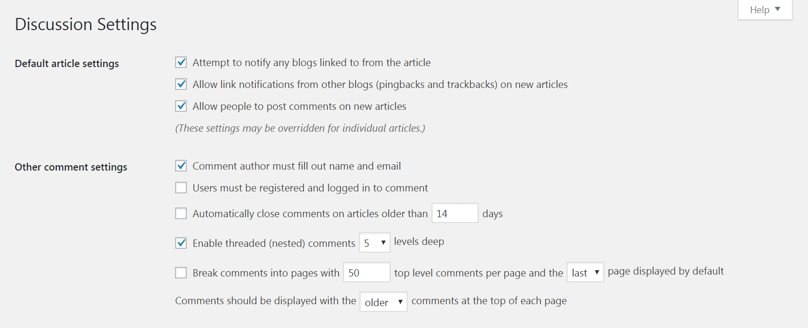 Discussion settings in WordPress.