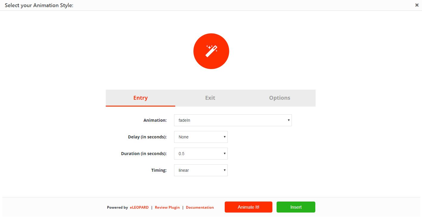 The Animate It! settings.