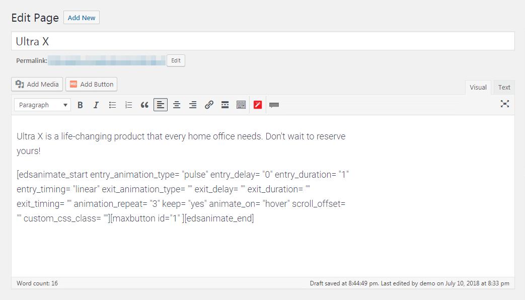 The Animate It! code in the WordPress editor.