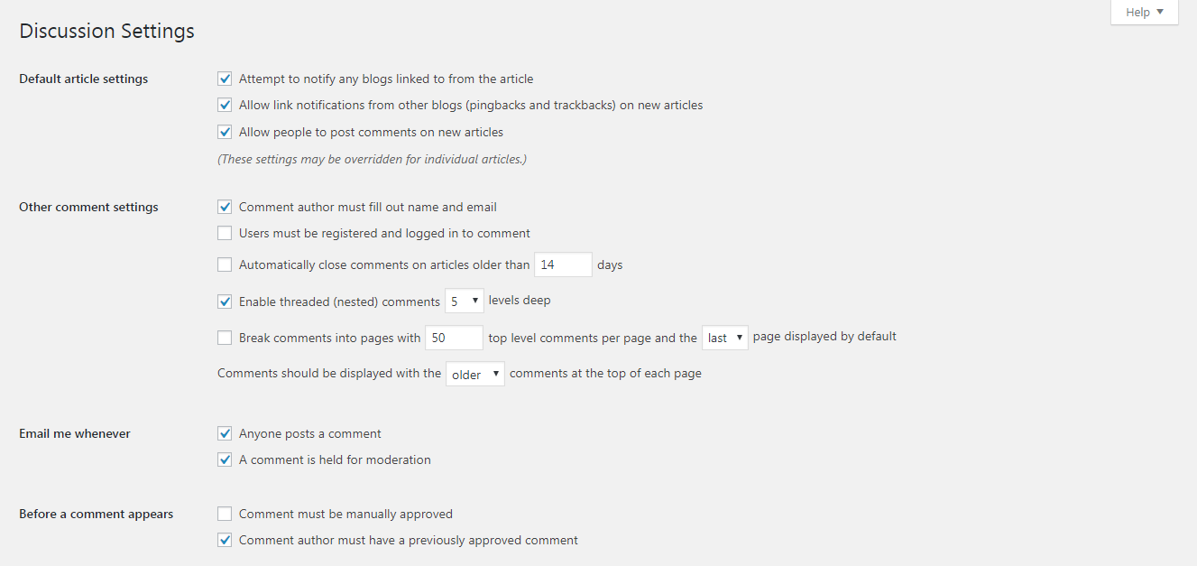 The Discussion settings screen, part 1.
