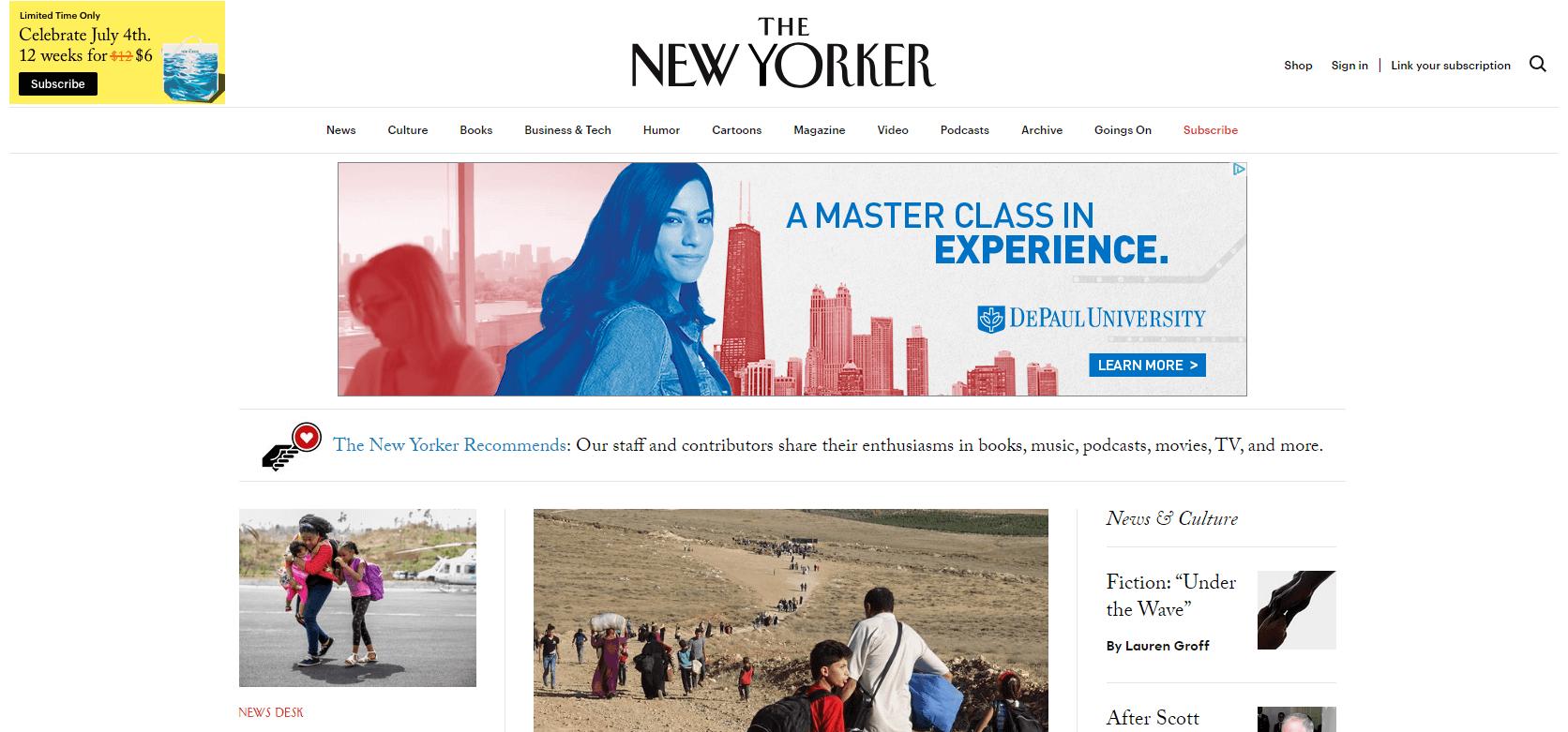 The New Yorker website.