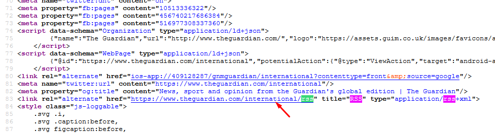 Finding The Guardian's RSS Feed in the Source Code