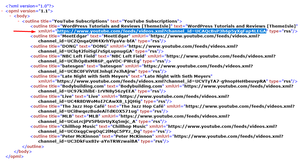 You can use these channel feeds to add YouTube videos to your aggregatore site