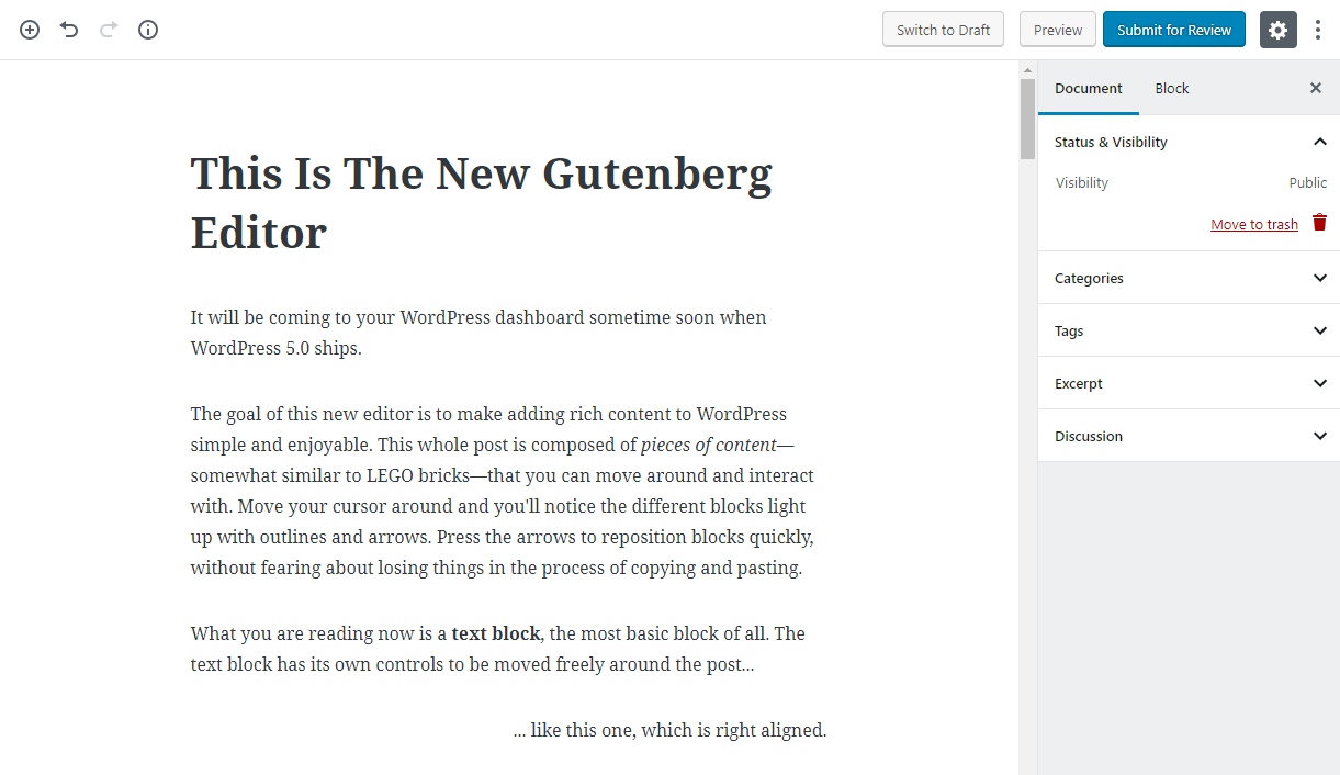 the new Gutenberg editor in WordPress 5.0