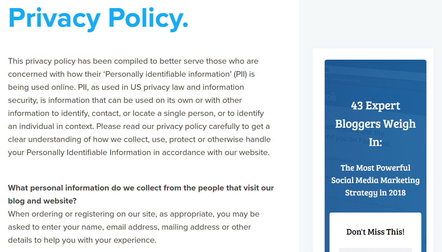 An Example Of A WordPress Privacy Policy