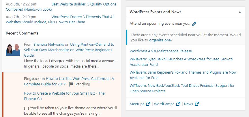 Uma lista de eventos do WordPress nas proximidades.