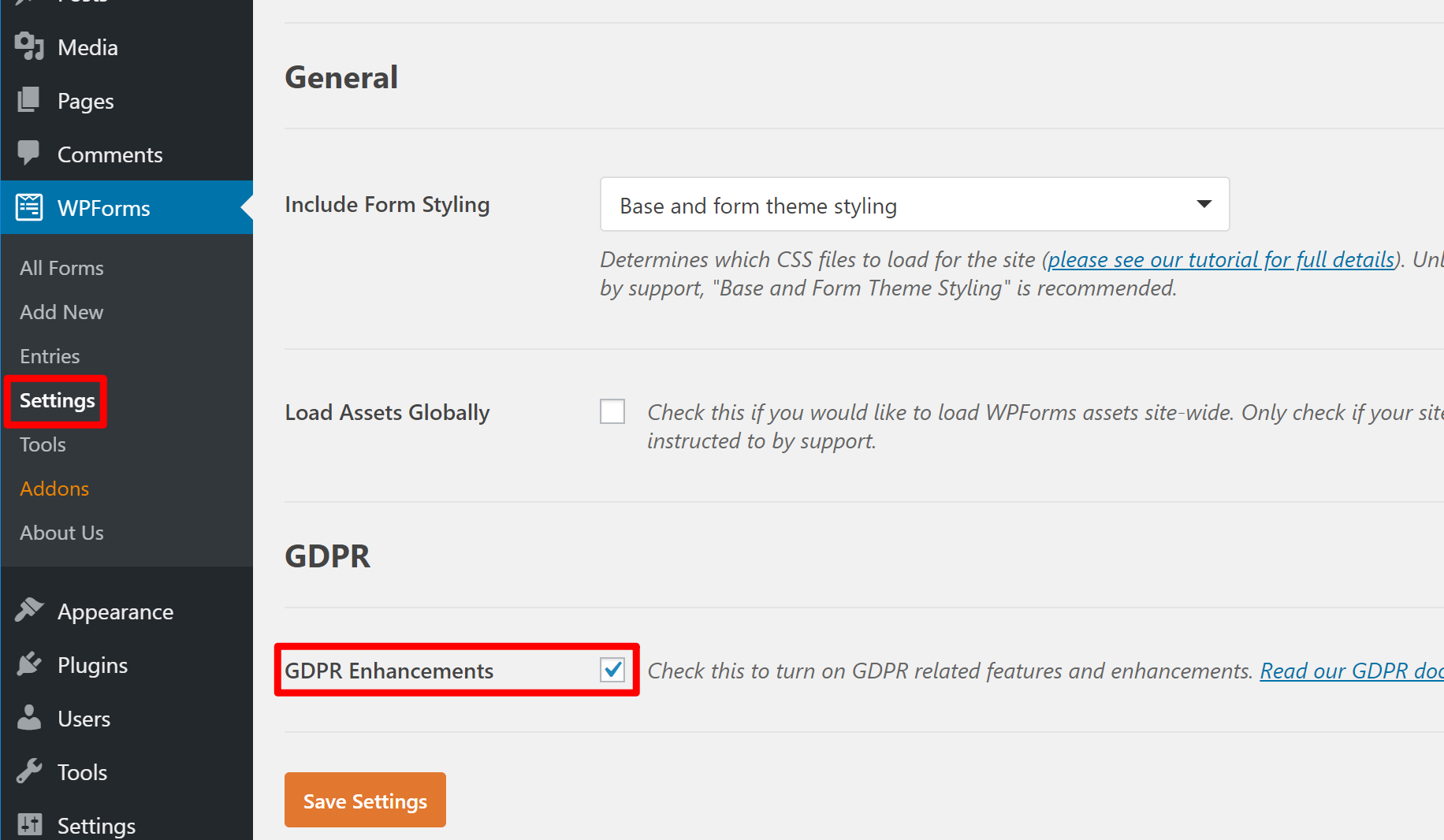 how to enable GDPR-compliant forms features in WPForms
