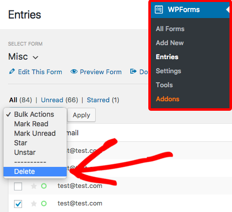WPForms Entry management