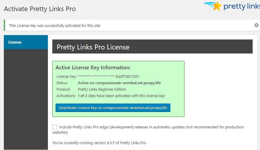 pretty links pro license