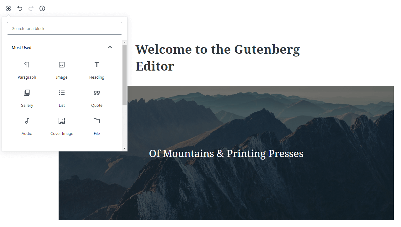 Selecting a block in Gutenberg.