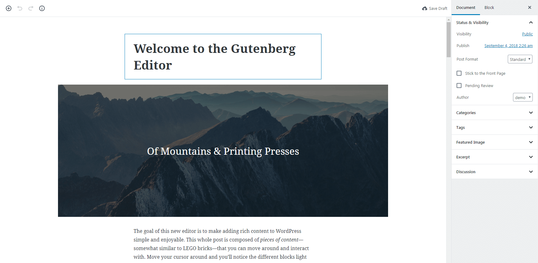 A sample page in Gutenberg.