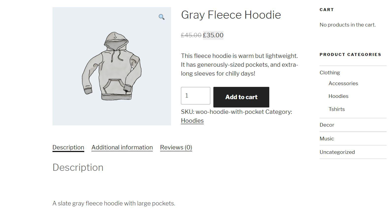 A WooCommerce product description.