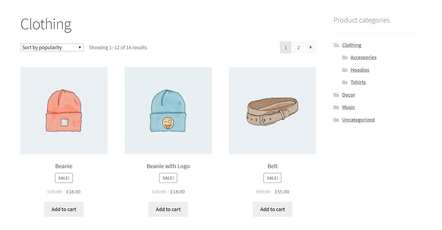 Product categories in the sidebar.