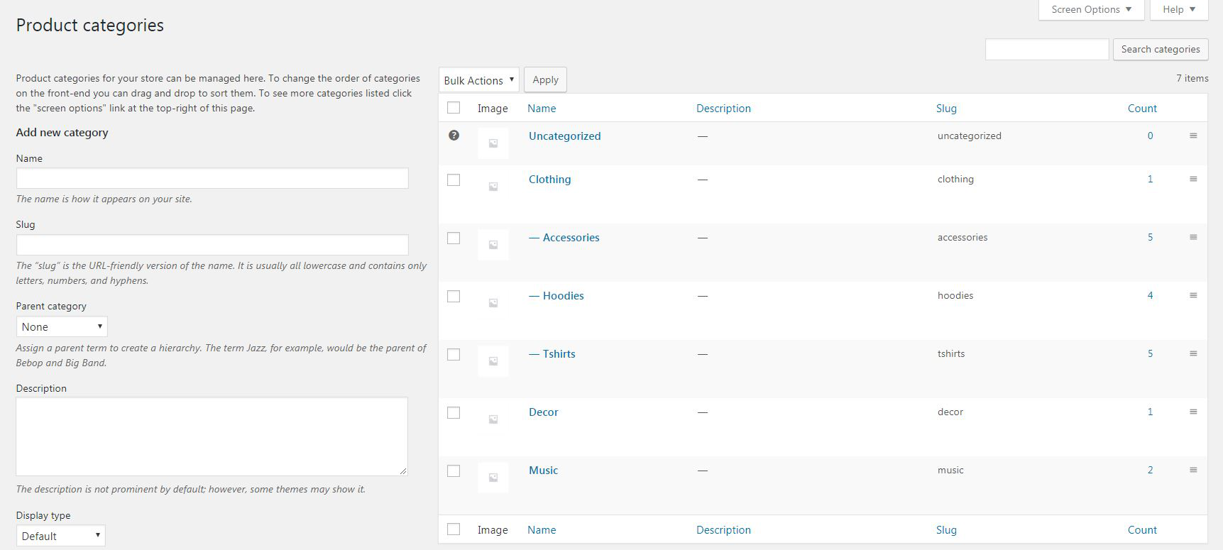 Product categories in WooCommerce.