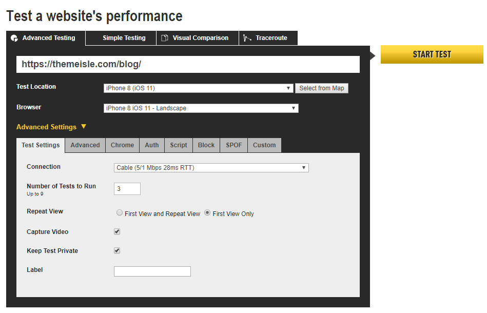 WebPagetest Advanced options