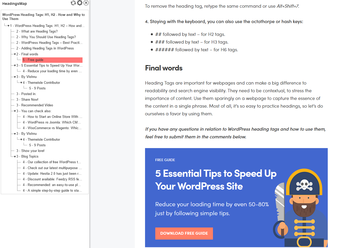 Using HeadingMaps to test the heading structure of a blog post