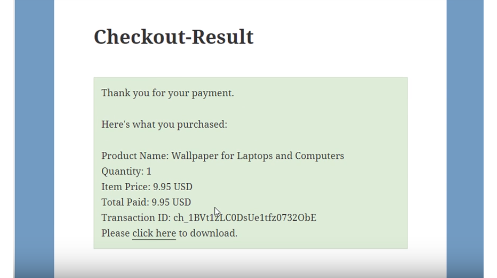 Stripe Payments - Checkout result