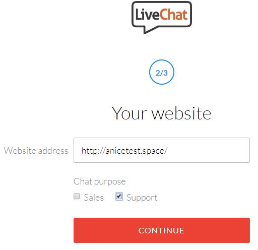 Enter website details