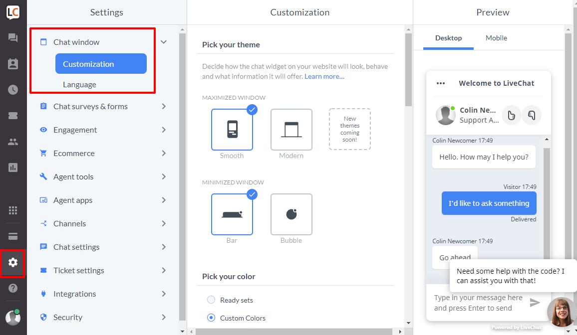 Configure chat box