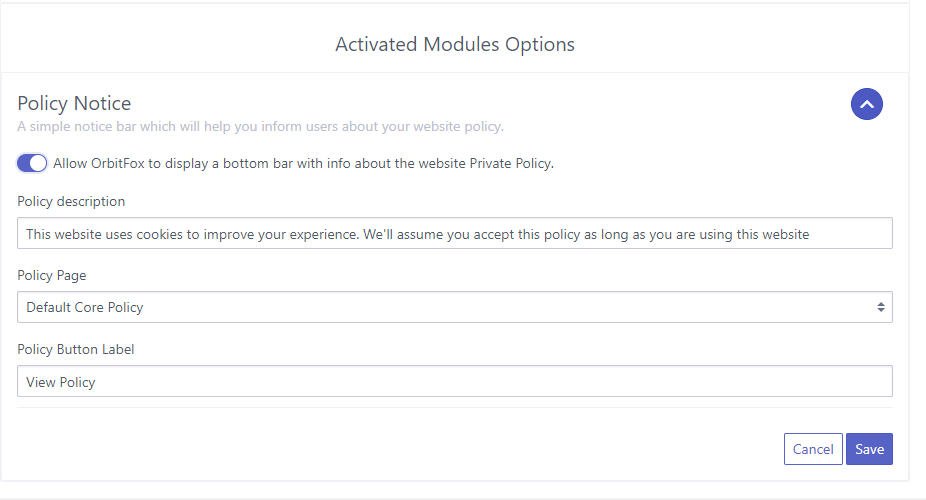 Orbit Fox Privacy Module