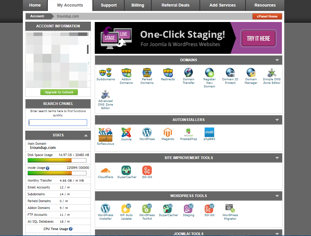 SiteGround cPanel dashboard