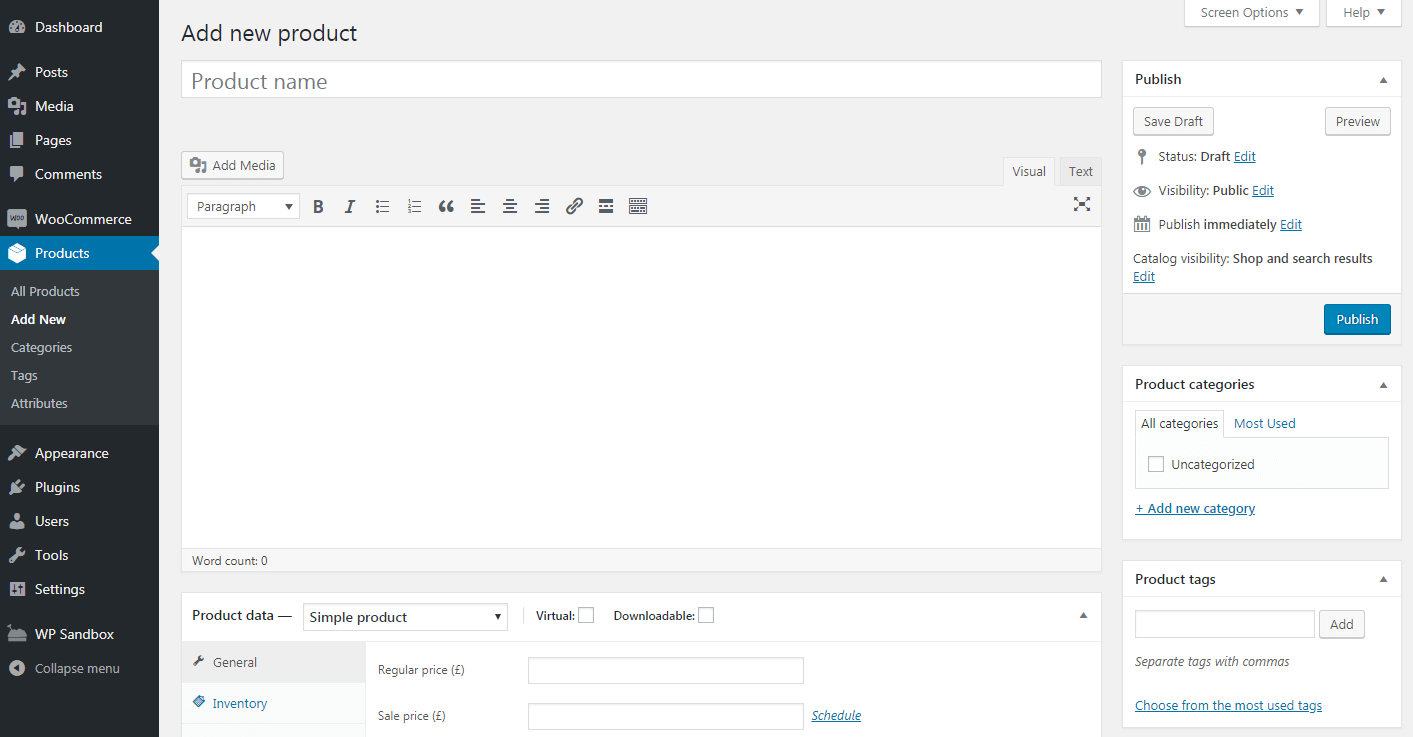 Creating a WooCommerce product.