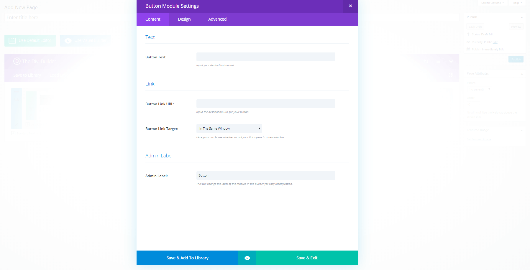 Module settings in The Divi Builder.