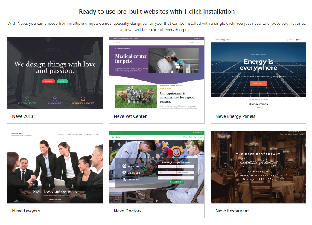 Neve is a WordPress theme with multiple Elementor built demos