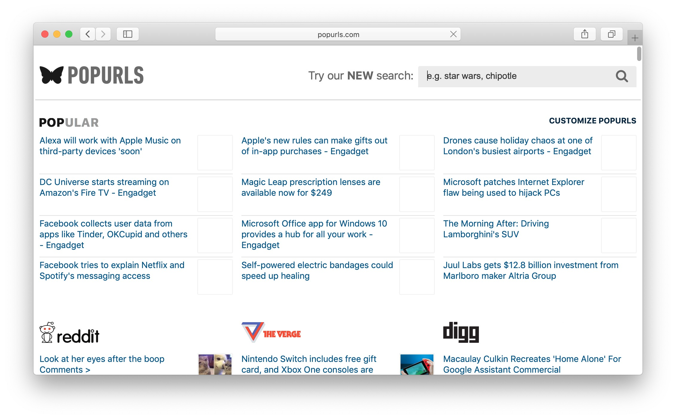 PopUrls is a famous content aggregator