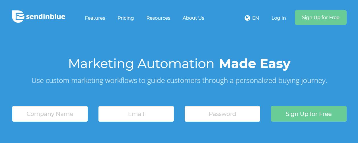 The SendinBlue website.