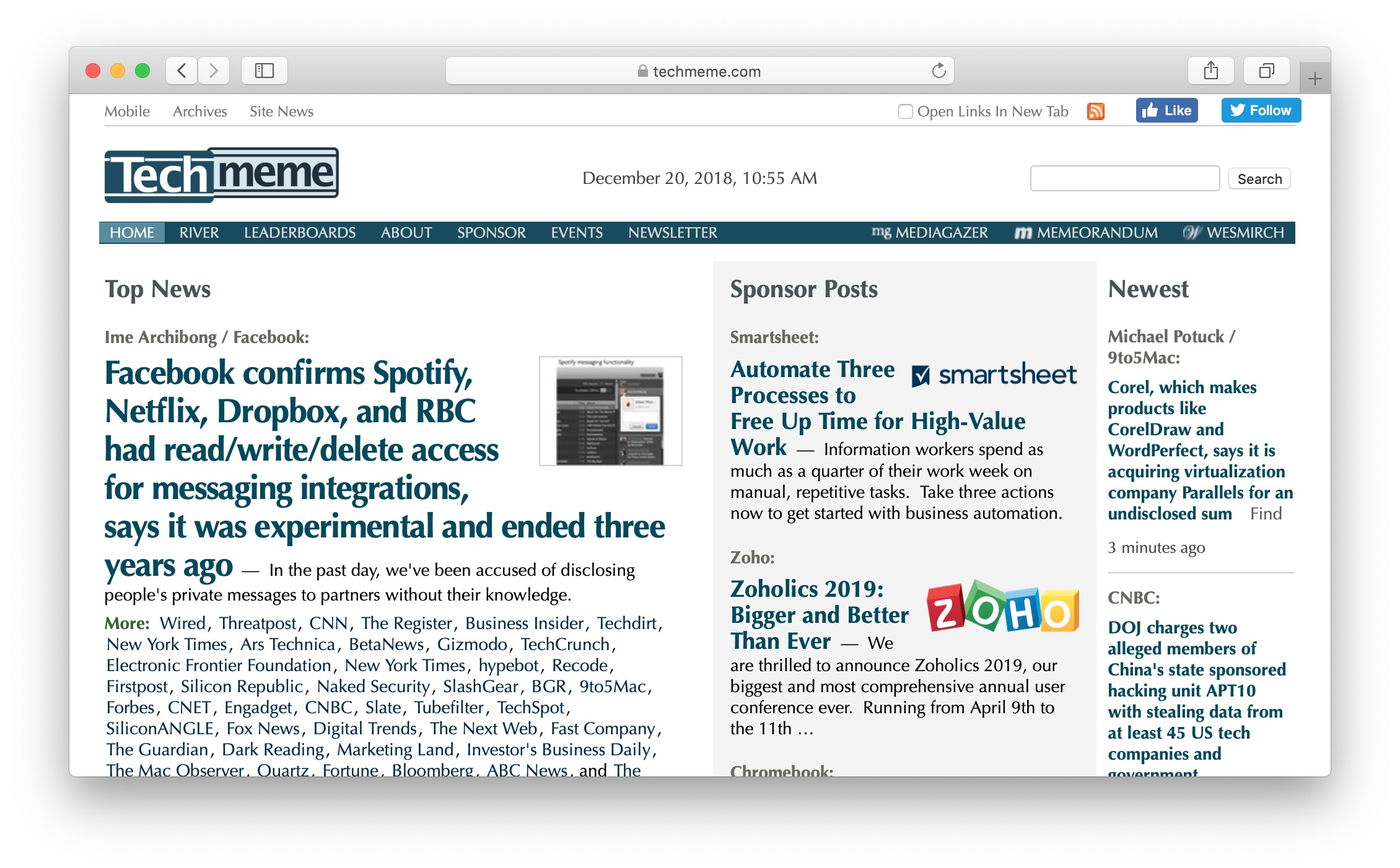 The front page of the TechMeme content aggregator