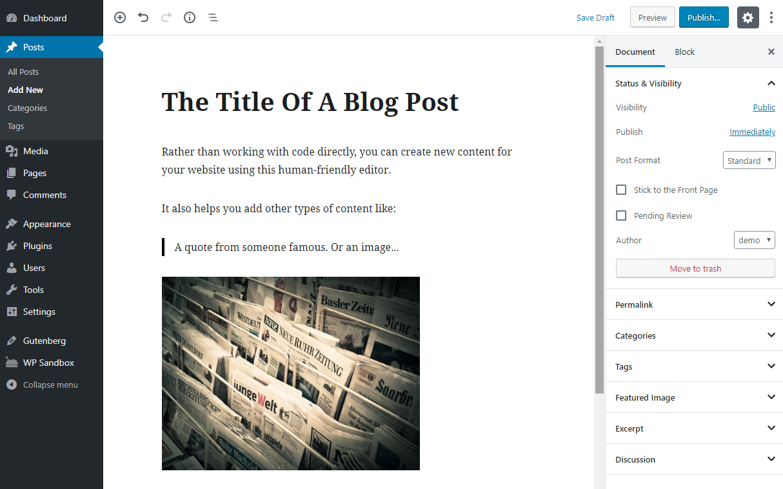 WordPress editor