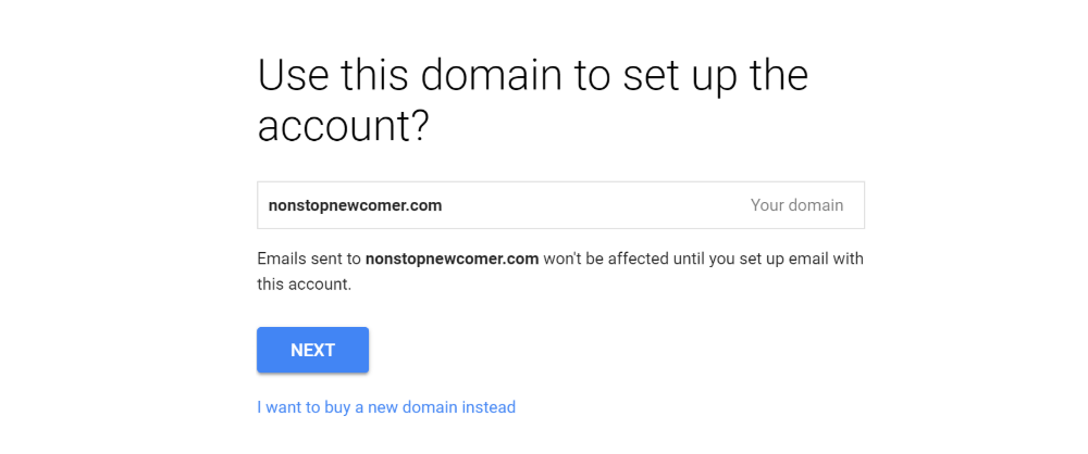 Confirm domain name