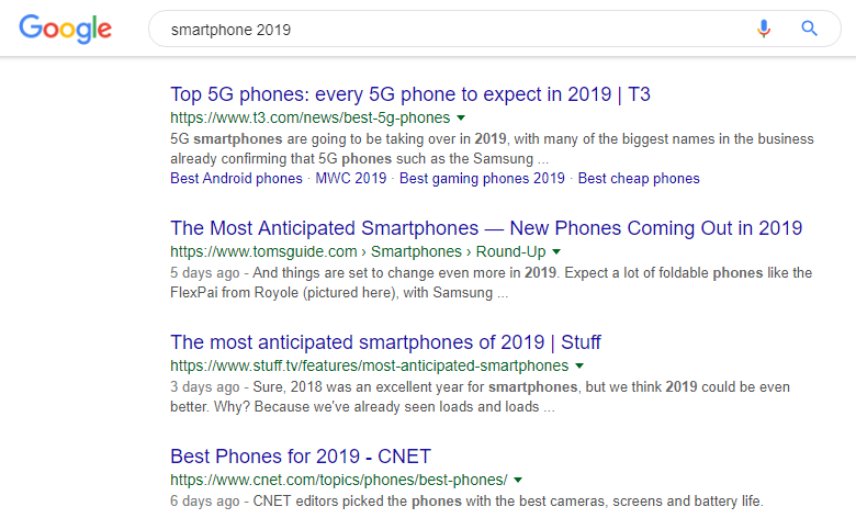 A Google search about smartphones in 2019.