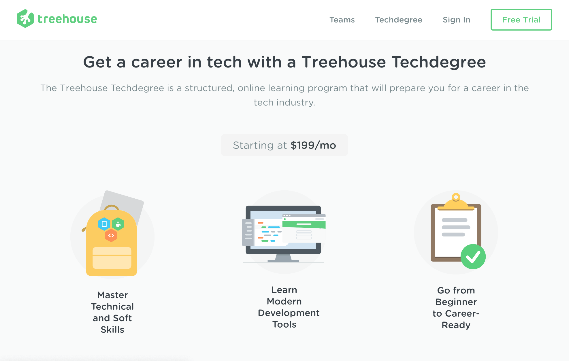 The Treehouse Homepage.