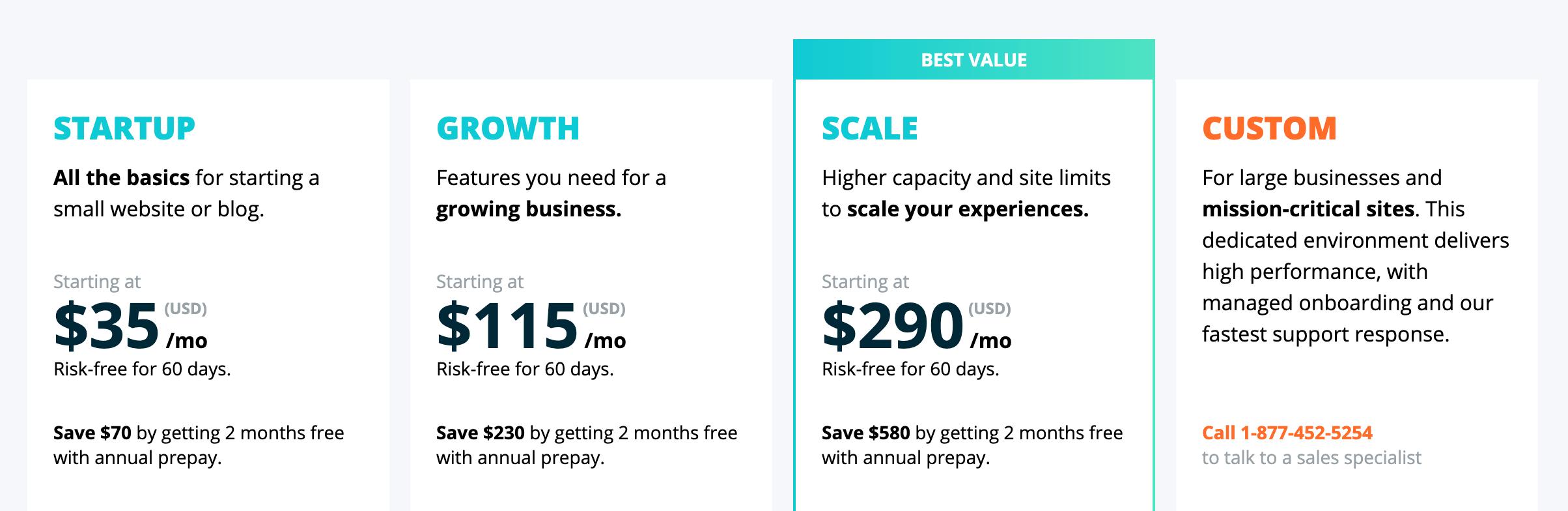 WP Engine pricing vs SiteGround