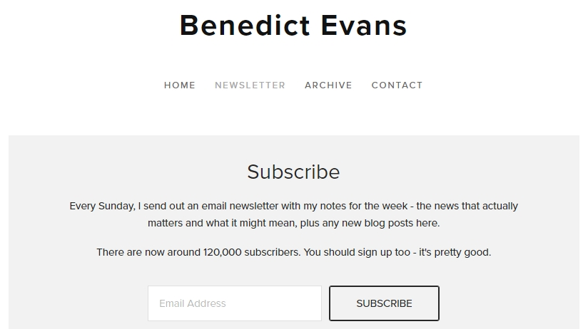 benedict newsletter is one of the best free tech newsletters