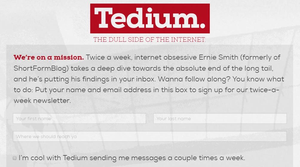 tedium free tech newsletter
