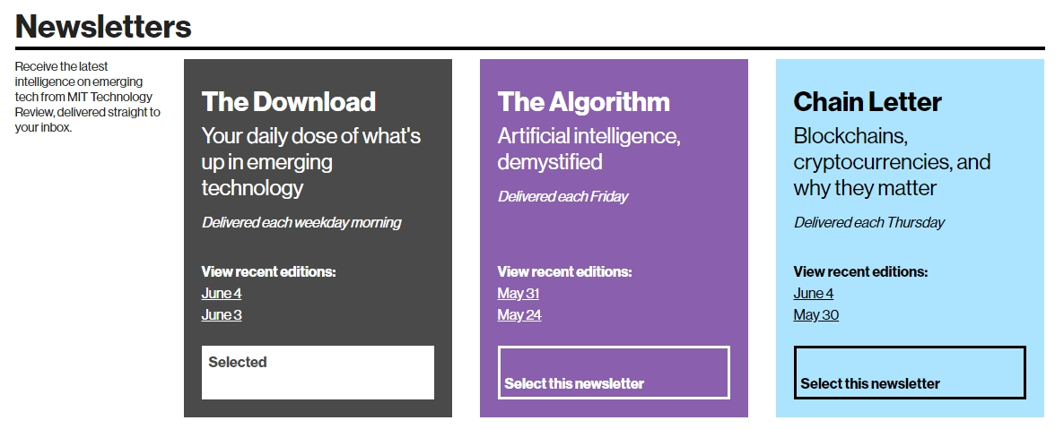 Free tech newsletters from the Download