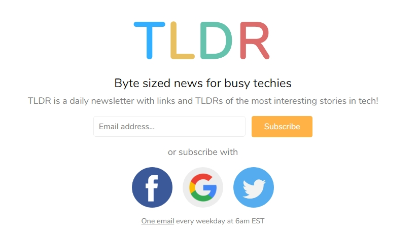 TLDR is one of the best free tech newsletters