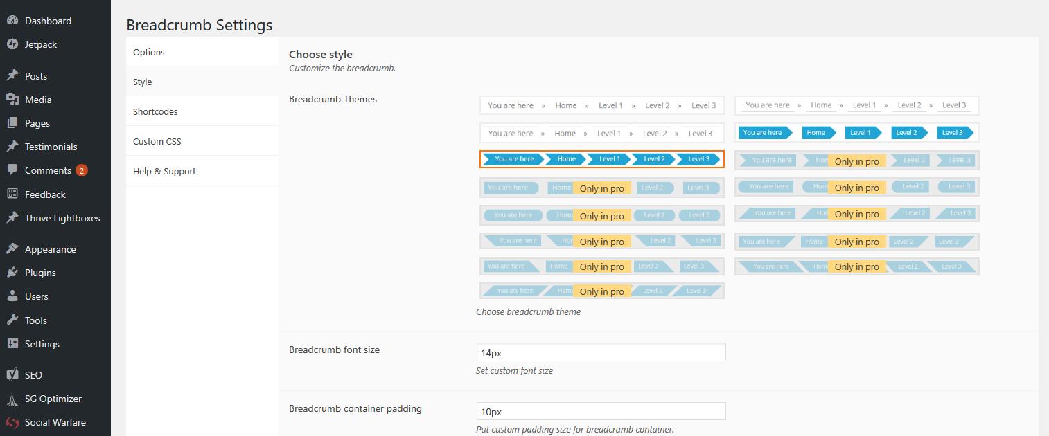 Choisissez votre thème de fil d'Ariane WordPress