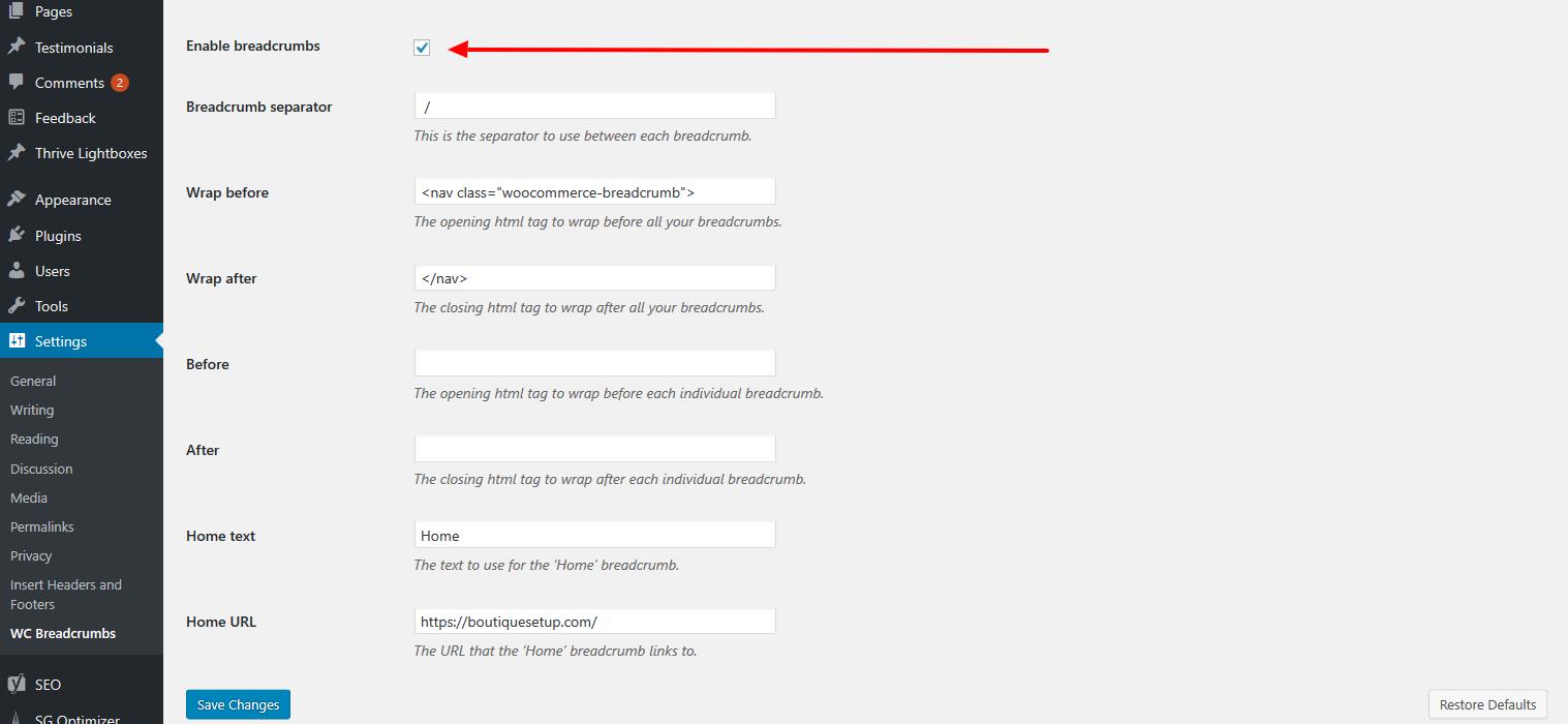 Activer la chapelure WooCommerce dans WordPress